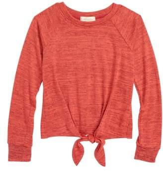 WALKING ON SUNSHINE Tie Front Raglan Sweatshirt