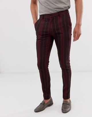 Asos Design DESIGN super skinny smart pants in burgundy block stripe