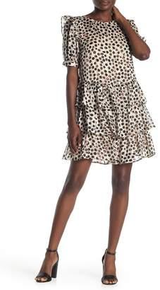 Everleigh Polka Dotted Chiffon Ruffle Dress