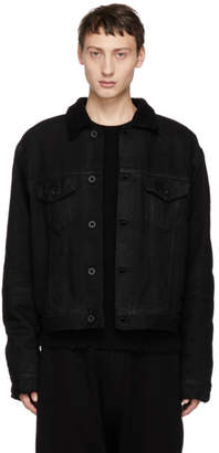 Unravel Black Wax Shearling Denim Jacket