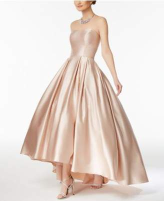 Betsy & Adam Strapless High-Low Ball Gown
