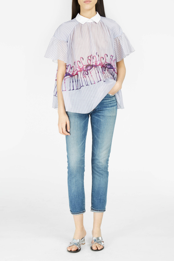 Giamba Flamingo-Print Stripe Top