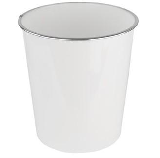 Home Basics Marble Plastic 5 Liter Waste Bin, White