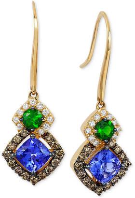 LeVian Le Vian Chocolatier Neo Geo Multi-Gemstone (1-1/4 ct. t.w.) and Diamond (1/2 ct. t.w.) Drop Earrings in 14k Gold, Created for Macy's