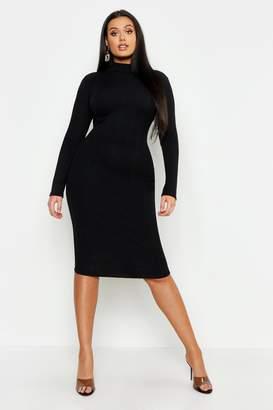 boohoo Plus Neon High Neck Long Sleeve Bandage Midi Dress