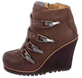 Ash Castagna Leather Wedge Booties w/ Tags