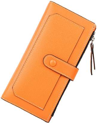 Maxcy Women's Wallet Clutch Long Vintage Leather Card Phone Holder Purse