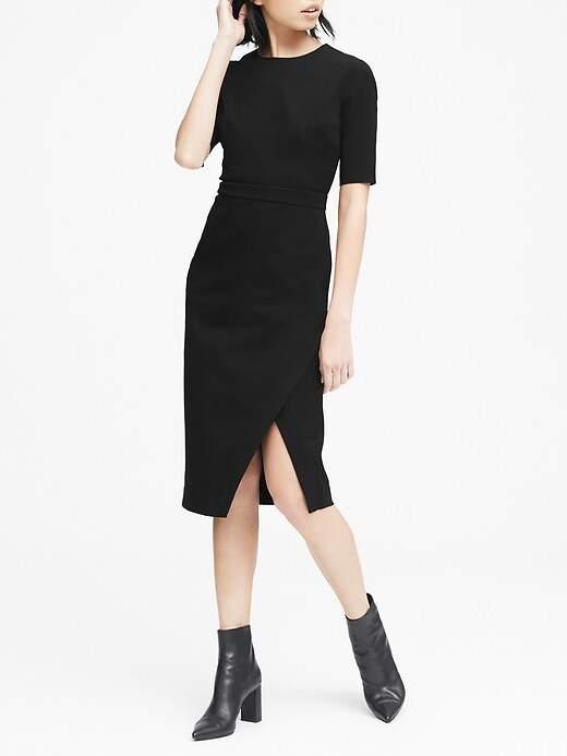 Bi-Stretch Short-Sleeve Sheath Dress