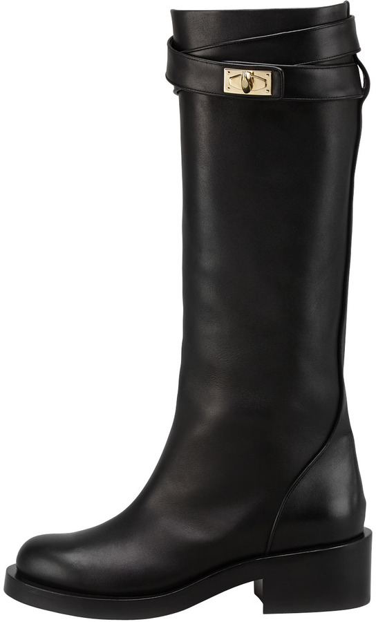 Givenchy Leather Shark-Lock Riding Boot