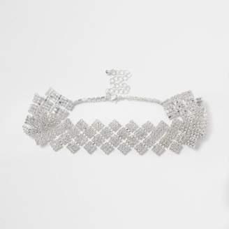 River Island Womens Silver tone diamond rhinestone choker