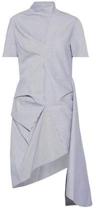 J.w.anderson Woman Asymmetric Draped Striped Cotton-blend Dress Light Blue Size 14 J.W.Anderson AShCEsc6V9
