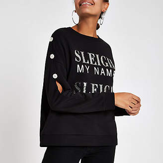 River Island Black 'Sleigh my name' embellished sweatshirt