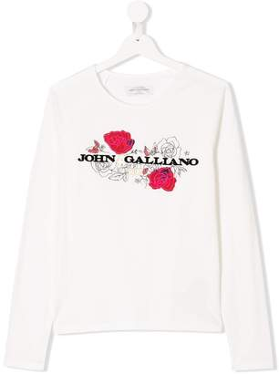 John Galliano TEEN embroidered rose logo T-shirt