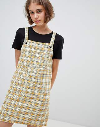 Monki Check Mini Dungarees Dress In Yellow