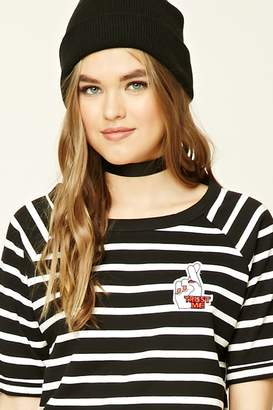 Forever 21 Striped Love Patch Tee