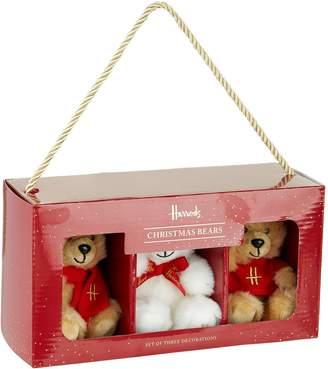 Harrods Teddy Bear Christmas Decorations (Set of 3)