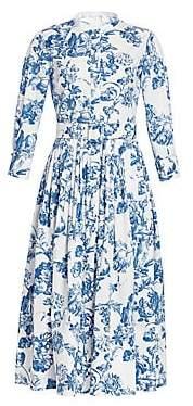 Oscar de la Renta Women's Three-Quarter Sleeve Toile Shirtdress
