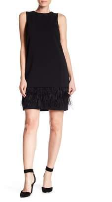 Modern American Designer Feather Bottom Shift Dress