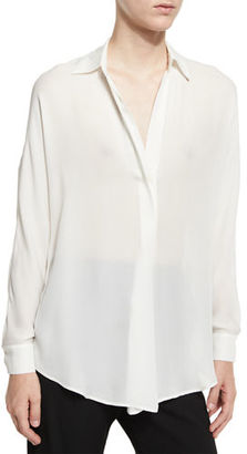 Vince Shirred Silk Popover Top $295 thestylecure.com