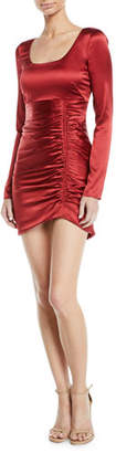 Roberto Cavalli Long-Sleeve Ruched Satin Cocktail Dress