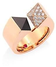 Roberto Coin Sauvage Privé Pyramid Pave Diamond, Black Jade & 18K Rose Gold Ring
