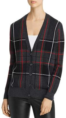 Bloomingdale's C by Plaid Cashmere Grandfather Cardigan - 100% Exclusive