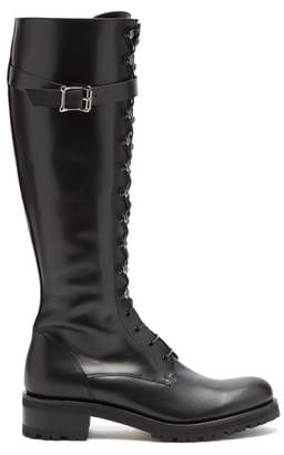 Rupert Sanderson Duncan Lace Up Knee High Leather Boots - Womens - Black