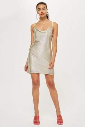 Topshop Tall Foil Cowl Mini Dress