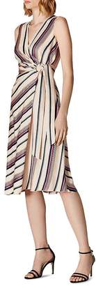 Karen Millen Striped Satin Faux-Wrap Dress - 100% Exclusive