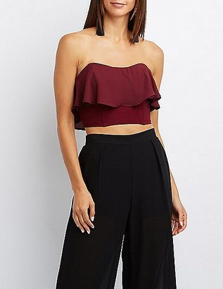 Ruffle-Trim Bustier Top $19.99 thestylecure.com
