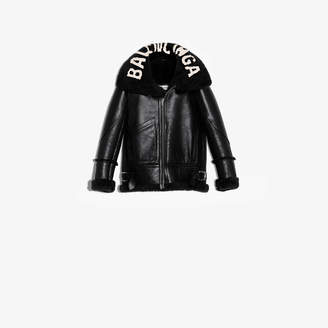 Balenciaga Authentic patina leather and shearling bomber jacket