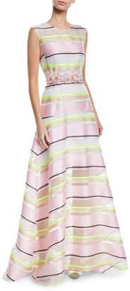 DELPOZO Sleeveless Floral-Applique Belt Striped-Organza A-Line Gown