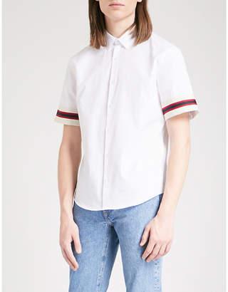 Sandro Striped-cuffs slim-fit cotton-poplin shirt