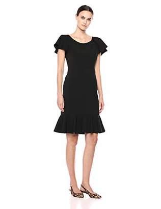 Eliza J Women's Short Sleeve Sheath Dress with Ruffle Hem