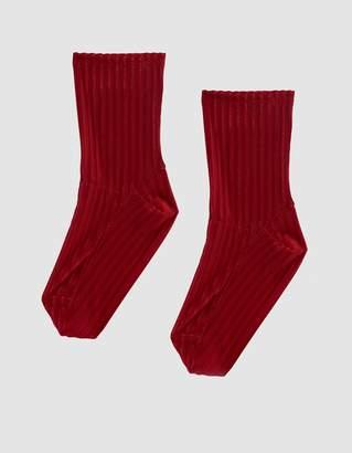 Darner Ribbed Velvet Sock in Red