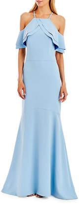 Nicole Miller Halter Neck Cold-Shoulder Gown