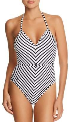 Ralph Lauren Piqué Stripe Belted Halter One Piece Swimsuit