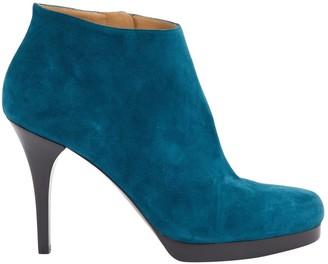 Balenciaga Green Suede Ankle boots