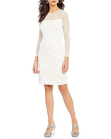 Adrianna Papell Adrianna Papell Crew Neck Long Sleeve Tiered Lace Sheath Dress