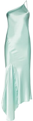N. Duo asymmetric satin slip dress
