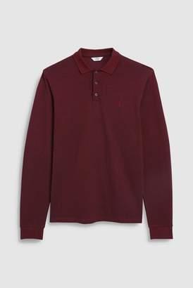Next Mens Dark Green Long Sleeve Premium Oxford Polo