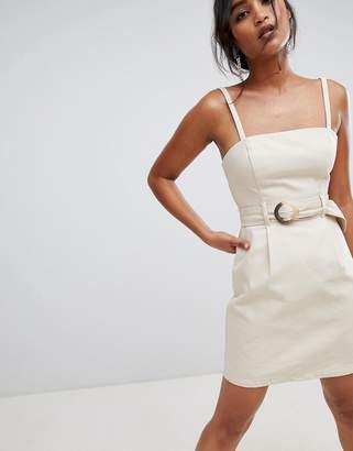 Asos Design DESIGN denim belted mini dress in stone