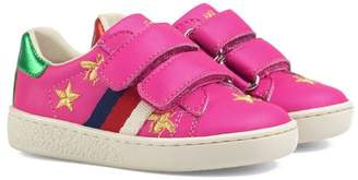 Gucci Kids bees and stars leather sneakers