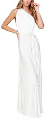 IBTOM CASTLE Women's Transformer/Wrap Infinity Solid Maxi Cocktail Dress
