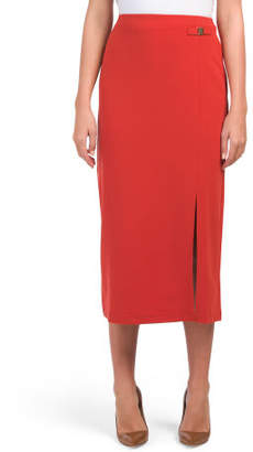 Long Slim Pencil Skirt With Hardware
