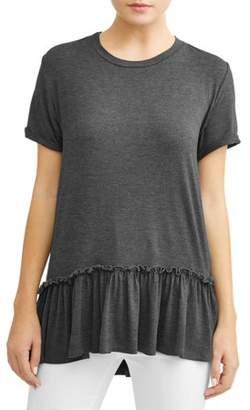 Attitude Unknown Women's Short Sleeve Flounce Peplum T-Shirt