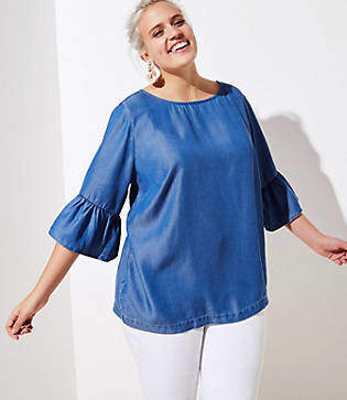 LOFT Plus Chambray Bar Back Flutter Top