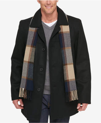 Tommy Hilfiger Melton Wool Walking Coat with Scarf $275 thestylecure.com