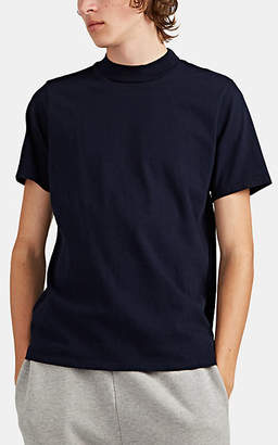 Les Tien Men's Cotton Mock-Turtleneck T-Shirt - Navy