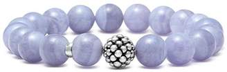 Lagos Sterling Silver Caviar Ball Beaded Blue Lace Agate Bracelet, 10mm